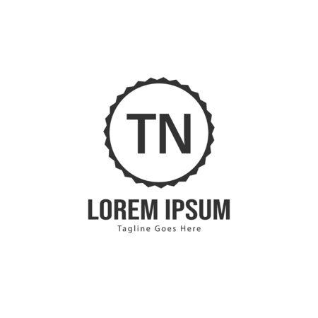 Initial TN logo template with modern frame. Minimalist TN letter logo vector illustration Ilustração