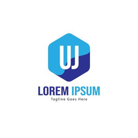 UJ Letter Logo Design. Creative Modern UJ Letters Icon Illustration