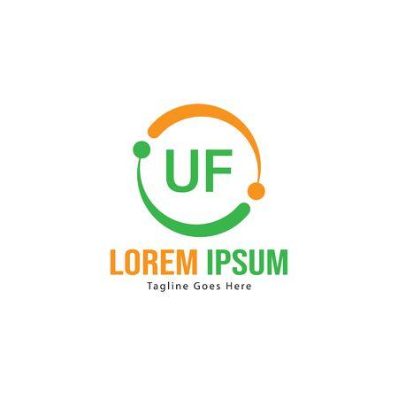 UF Letter Logo Design. Creative Modern UF Letters Icon Illustration