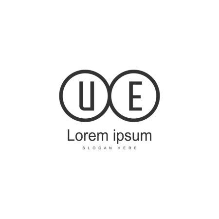 UE Letter Logo Design. Creative Modern UE Letters Icon Illustration