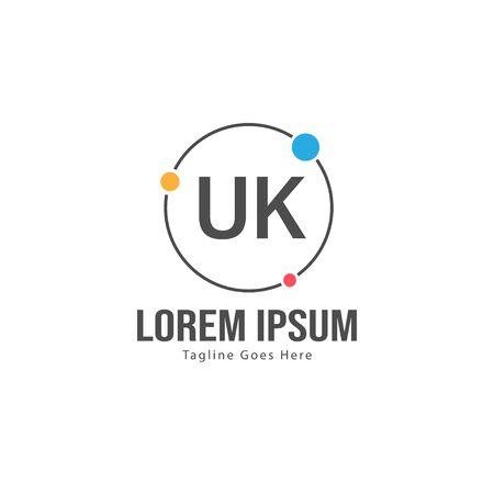 UK Letter Logo Design. Creative Modern UK Letters Icon Illustration