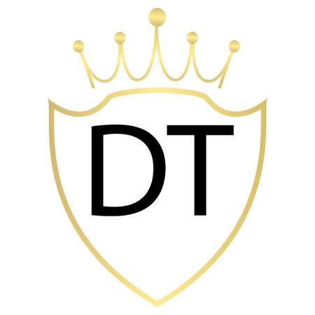 DT Letter Design With Simple style Vektorové ilustrace