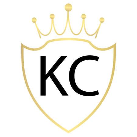 KC Letter Logo Design With Simple style Ilustração