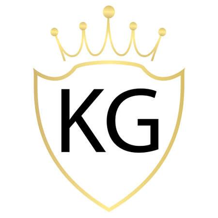 KG Letter Logo Design With Simple style Ilustração