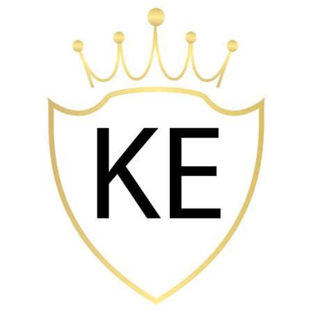 KE Letter Logo Design With Simple style Ilustração