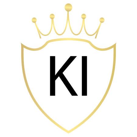 KI Letter Logo Design With Simple style