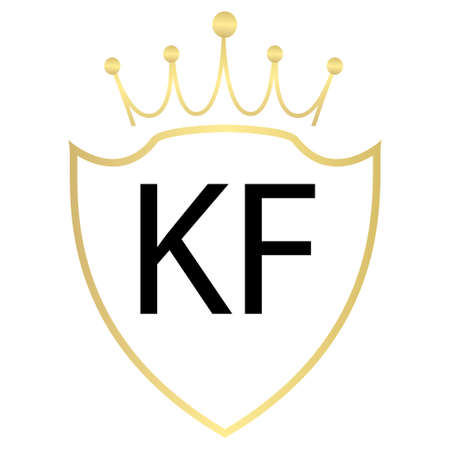 KF Letter Logo Design With Simple style
