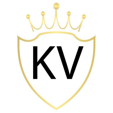 KV Letter Logo Design With Simple style Ilustração