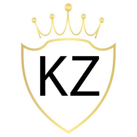 KZ Letter Logo Design With Simple style Ilustração