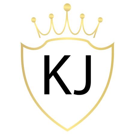 KJ Letter Logo Design With Simple style