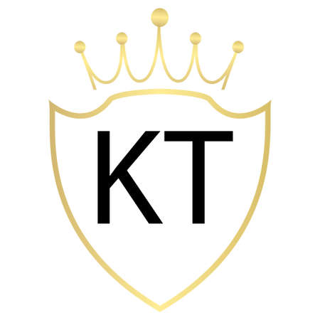 KT Letter Logo Design With Simple style