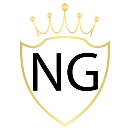 NG Letter Logo Design With Simple style Ilustração