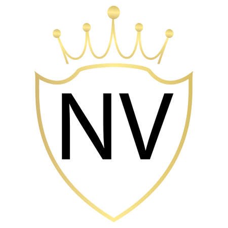 NV Letter Logo Design With Simple style
