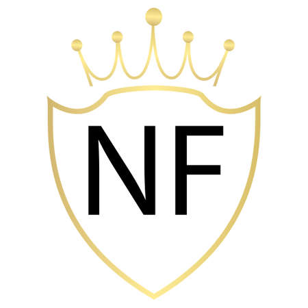 NF Letter Logo Design With Simple style