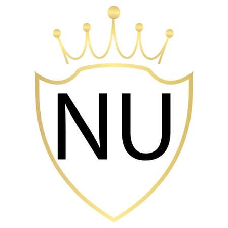 NU Letter Logo Design With Simple style Ilustração