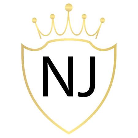 NJ Letter Logo Design With Simple style Ilustração