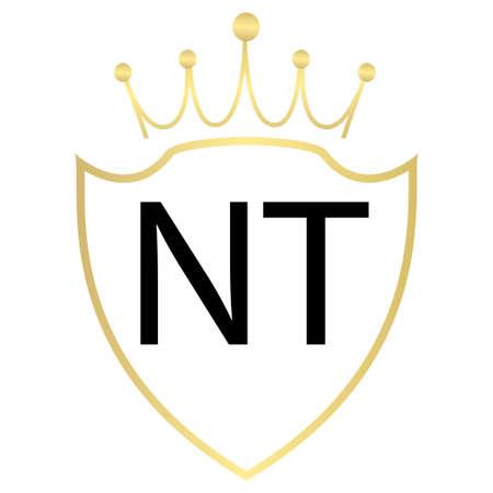 NT Letter Logo Design With Simple style Ilustração