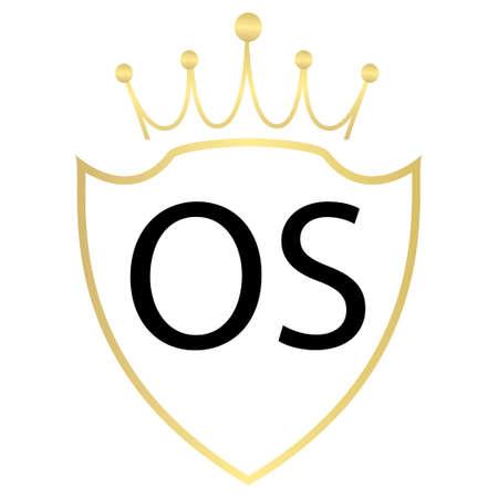 OS letter logo design with simple style Ilustração