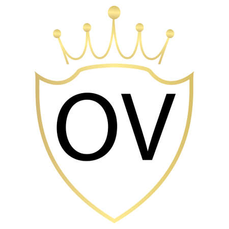 OV letter logo design with simple style
