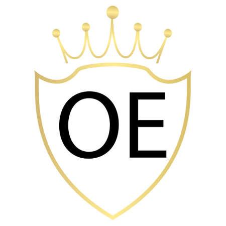 OE letter logo design with simple style Ilustração