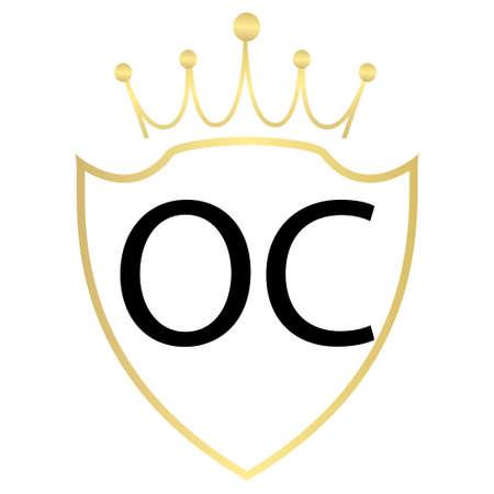 OC letter logo design with simple style Ilustração