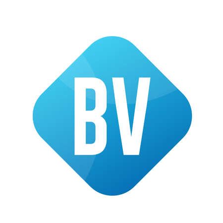 BV Letter Logo Design With Simple style