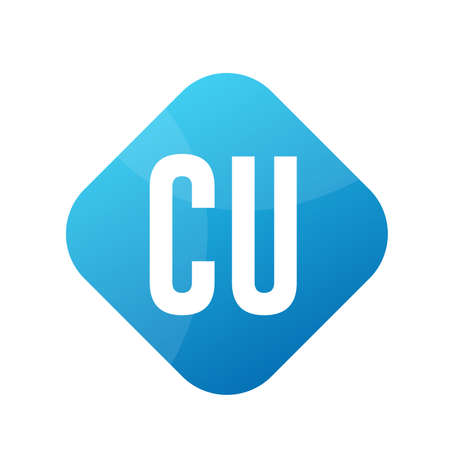 CU Letter Logo Design With Simple style