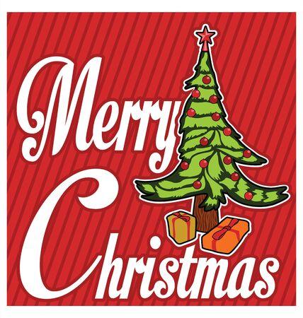 christmas tree illustration: Merry christmas tree illustration Illustration