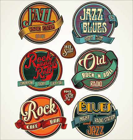 blues: Rock jazz and blues retro vintage badges and labels collection Illustration