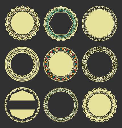 interlinked: Collection of Round Decorative Border Frames with Black Filled Background Illustration