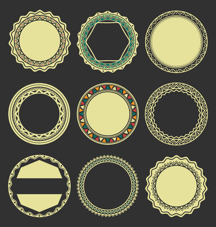 Collection of Round Decorative Border Frames with Black Filled Background Illustration