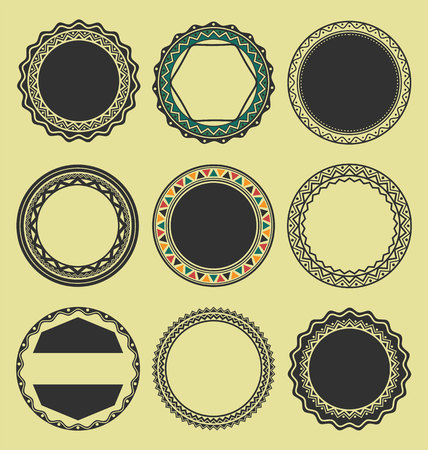 Collection of Round Decorative Border Frames Black and White set