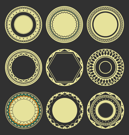 interlinked: Collection of Round Decorative Border Frames with Black Filled Background 3