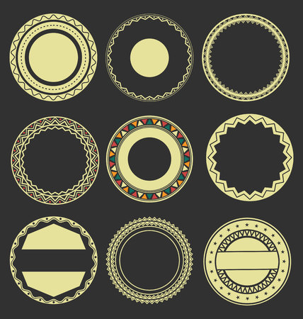 interlinked: Collection of Round Decorative Border Frames with Black Filled Background 2