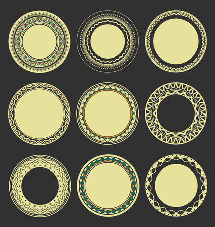 interlinked: Collection of Round Decorative Border Frames with Black Filled Background 1