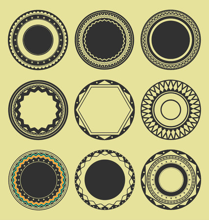 interlinked: Collection of Round Decorative Border Frames Black and White set 3