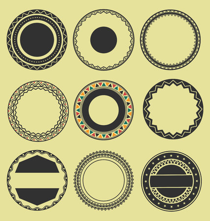 interlinked: Collection of Round Decorative Border Frames Black and White set 2