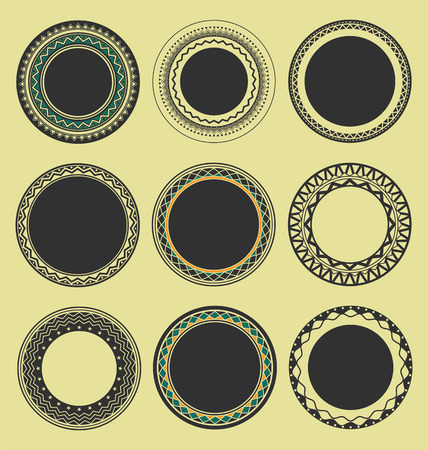 interlinked: Collection of Round Decorative Border Frames Black and White set 1