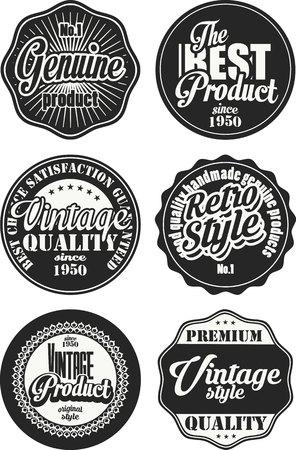 Collection d'étiquettes vintage noir et blanc 5