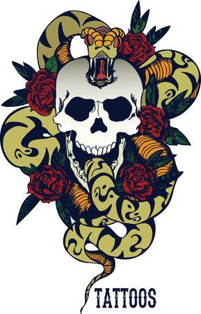 Cráneo con la serpiente y cinco rosas tatuaje Ilustración de vector