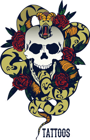 Skull with snake and five roses tattoo Illustration