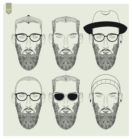 shaved head: hipster illustration set