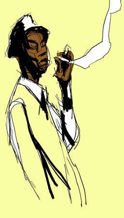 hombre: Man smoking Illustration