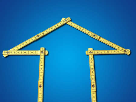 metre: house shaped meter on blue background