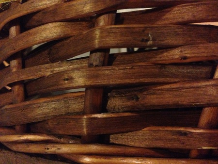 woven: Close up photo of brown woven basket. Stock Photo