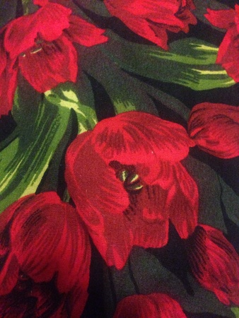 print: Red flower printed fabric close up Stock Photo