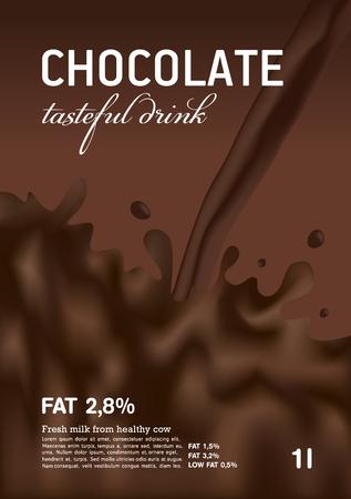 chocolate syrup: Chocolate milk wave with splash, tasteful, vector, background Illustration