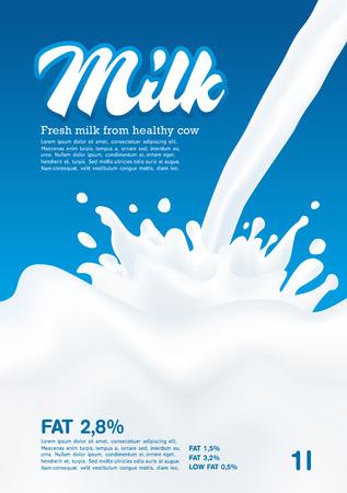 latte fresco: Versare il latte Splash, onda latte, sfondo blu, vettore