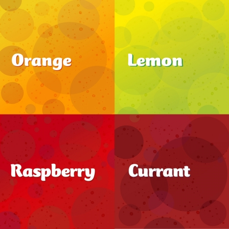 Orange, Lemon, Raspberry, Currant, background, label design