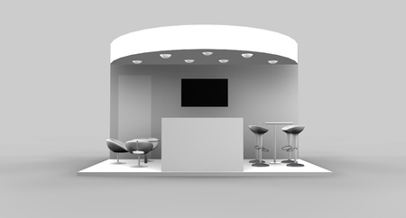 Exhibition stand front look Stock Photo
